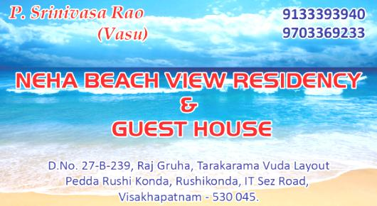 Neha Beach View Residency Guest House, Rushikonda In Visakhapatnam, Vizag